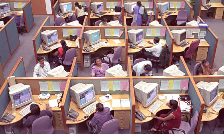 Employees at a call centre in Bangalore, India