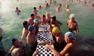 Chess players in the famous Szechenyi baths in Budapest.