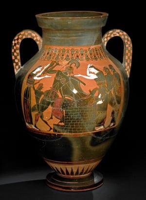 Black-figured amphora featuring the death of Priam, 550BC-540BC