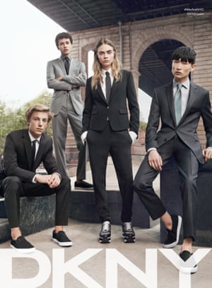 Cara Delevingne in the DKNY menswear spring 2015 campaign