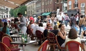 A cafe in Spitalfields market, East London.