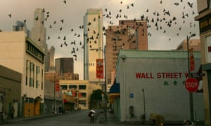 The Wall Street area looming over Skid Row, now a site of gentrification and redevelopment.