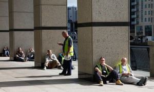 Eastern European migrant workers in Canary Wharf, east London