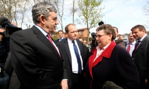 Gordon Brown talks to Gillian Duffy during the general election campaign in 2010.