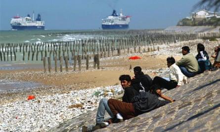 Refugees near Calais in 2002.