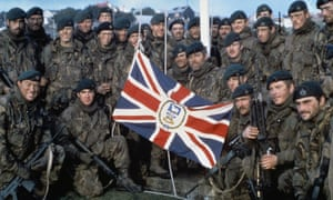 British marines after the surrender of Argentinian forces on the Falklands in 1982.