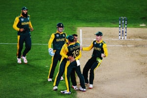 Jean-Paul Duminy of South Africa celebrates the wicket of Ross Taylor of New Zealand with Francois du Plessis, Hashim Amla, AB de Villiers and Quinton de Kock.