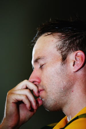 AB de Villiers of South Africa composes himself.