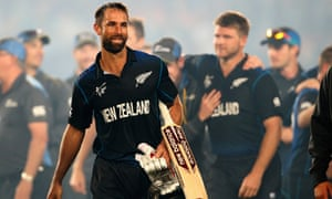 A happy and relieved looking Grant Elliott pictured as the New Zealand celebrate their 4 wicket victory.