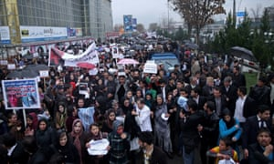 Protest demanding justice for Farkhunda in downtown Kabul.