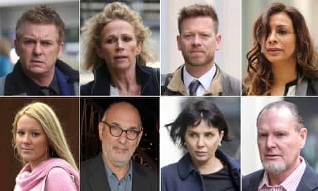 Clockwise from top left: Shane Richie, Lucy Taggart, Robert Ashworth, Shobna Gulati, Paul Gascoigne, Sadie Frost, Alan Yentob and Lauren Alcorn.
