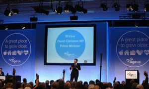 David Cameron speaks at the Age UK rally.