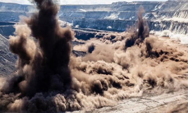 A coal seam is blasted at a mine in Wyoming.
