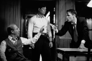 American actors Dustin Hoffman (as Willy Loman) and John Malkovich (as Biff Loman) argue in front of Stephen Lang (as Happy Loman) in a staged-for-television version of the Arthur Miller play 'Death of a Salesman,' 1985. The previous year Hoffman played the role of Willy in a Tony Award-winning revival of the play.