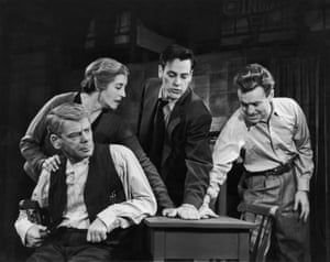 The Phoenix Theatre in London, 1949. Paul Muni as Willy Loman, Katherine Alexander as Linda, Kevin McCarthy as Biff and Frank Maxwell as Happy.