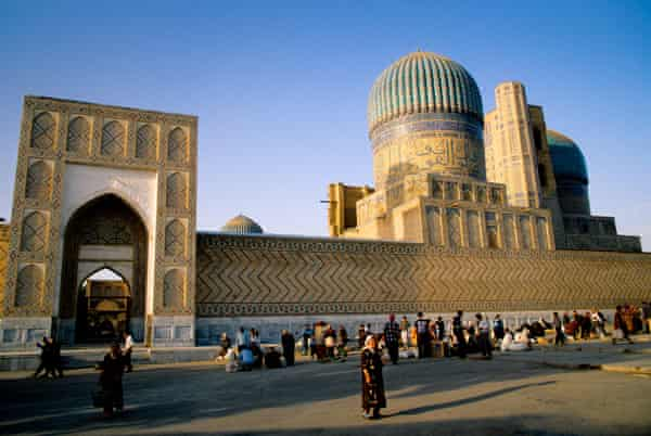 Street market outside the Registan. Samarkand was on the Silk Road and 'alive with people from different lands'.