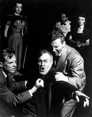 Lee J. Cobb as Willy Loman being restrained by actors Arthur Kennedy & Cameron Mitchell, as his sons Biff & Happy, 1949