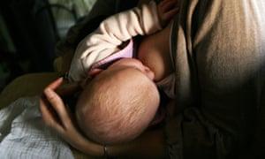 A woman breastfeeding