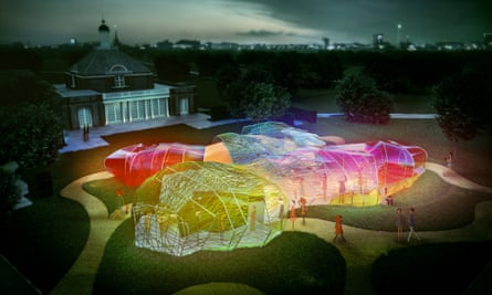 Glowing cocoon … the pavilion by night.
