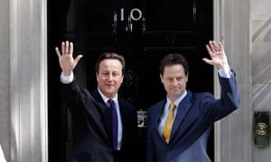 David Cameron and Nick Clegg on the coalition's first day in power – 12 May 2010.