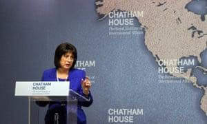 Natalie Jaresko addresses the Chatham House thinktank.