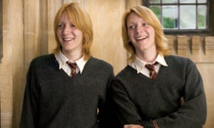 Fred and George Weasley, seen here in Harry Potter and the goblet of Fire (played by twins James and Oliver Phelps)