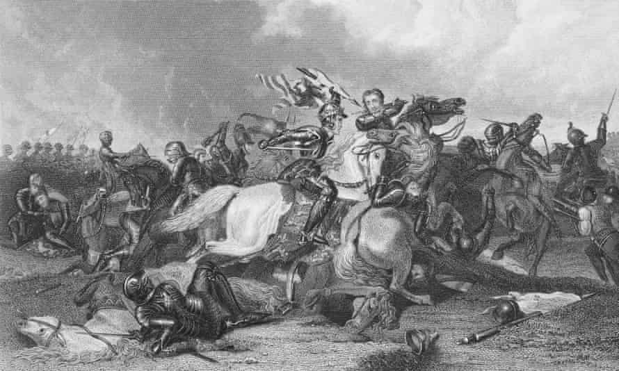 An engraving of Richard III and the Earl of Richmond at the Battle of Bosworth.