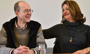 Michael Ibsen  and Wendy Duldig, direct  descendants of Richard's sister, Anne of York,  at  a press conference at Leicester Cathedral.