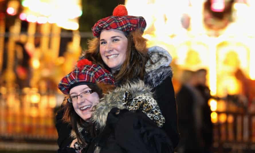 People celebrating New Year on Princes Street in Edinburgh