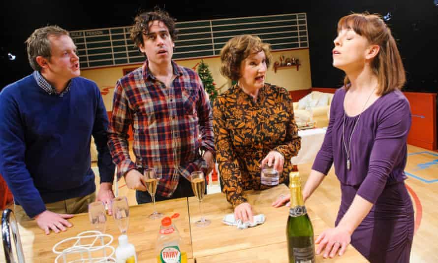 Miles Jupp as Matthew, Stephen Mangan  as Adam, Deborah Findlay as Edith and Claudie Blakley as Sheena in Rules for Living.
