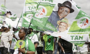 Supporters of Nigeria's president Goodluck Jonathan at an election campaign rally at the national stadium in Lagos, on Tuesday.
