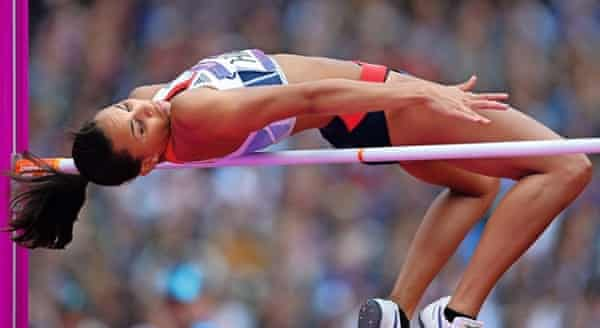 heptathlete louise hazel high jumping at the 2012 olympics