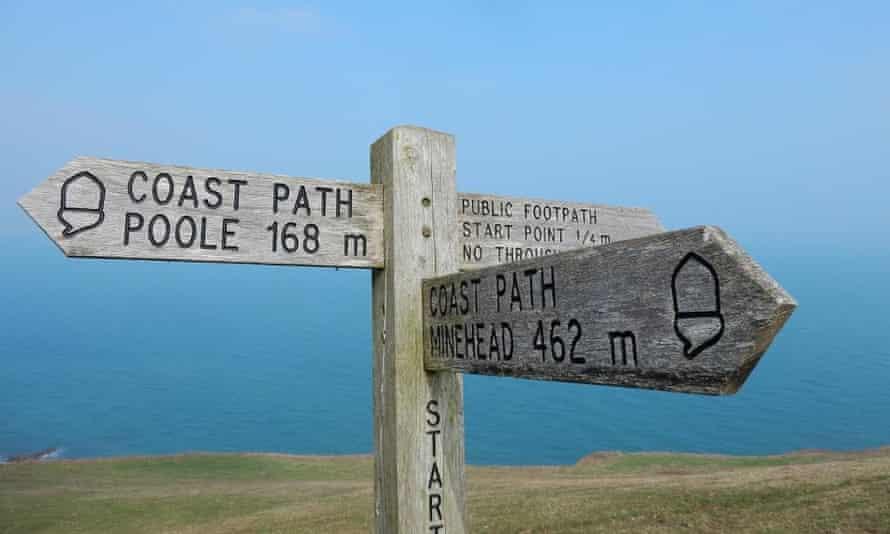 A coastal path sign in Devon