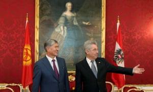 Kyrgyz president Almazbek Atambayev, left, with  Austrian president Heinz Fischer at the Hofburg palace in Vienna this week.