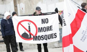 The EDL protest against the proposed mosque in Dudley in February.
