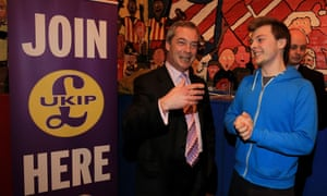 Nigel Farage talking animatedly to a supporter in Thanet South