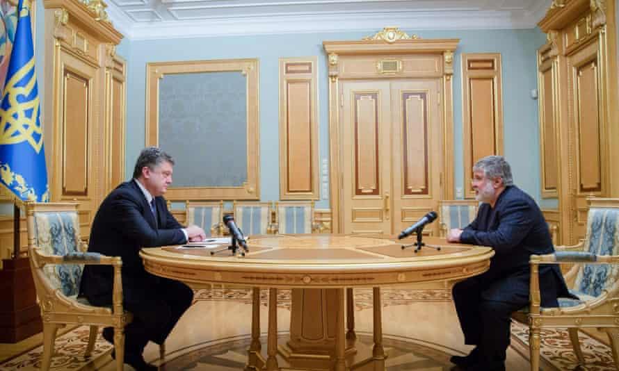 The Ukrainian president, Petro Poroshenko (left) with Ihor Kolomoisky at the presidential office in Kiev on Wednesday