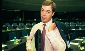 A younger looking Farage in the European parliament, after being made an MEP in 1999.