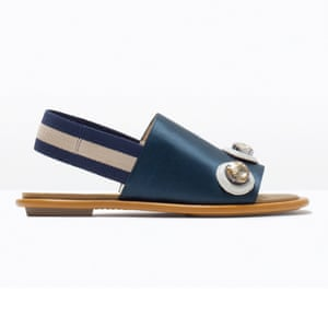 50 best sandals 2015 - navy satin slingback with large gems on front and brown sole by Zara