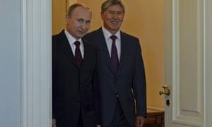 Almazbek Atambayev meets Vladimir Putin in St Petersburg on 16 March 2015.