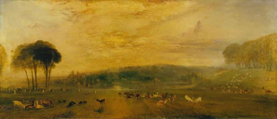The Lake, Petworth: Sunset, Fighting Bucks, by JMW Turner