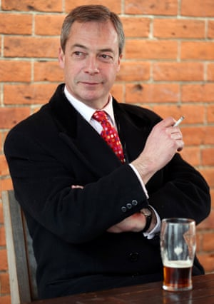 Nigel Farage with a cigarette and a pint of beer in a break during the 2013 Eastleigh by-election campaign.