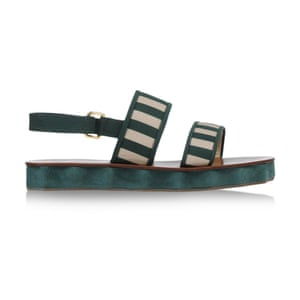 50 best flat sandals 2015 - green sole with green and white striped straps by L'Autre Chose