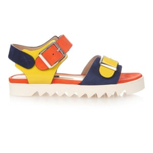 50 best flat sandals 2015 - yellow, orange and navy chunky strap sandals with jagged white sole, by Chrissie Morris