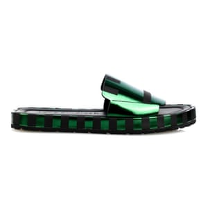 50 best flat sandals 2015 - green metallic pool slides with black sole by Acne