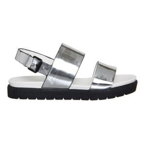 50 best flat sandals 2015 - silver footbed style comfortable strap sandals with chunky black sole, by Office