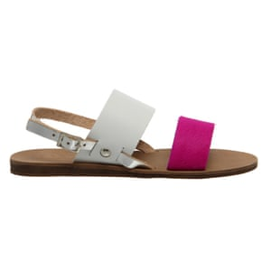 50 best flat sandals 2015 - white and pink with flat brown sole by Office