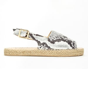 50 best flat sandals 2015 - snakeskin print slingbacks with espadrille sole by New Look