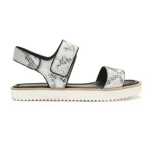 50 best flat sandals 2015 - snake skin print chunky footbed style sandals with chunky white sole and velcro fastening by Whistles