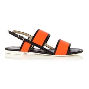 0cef6bff239a 50 best flat sandals 2015 - orange neoprene with black edging and white  sole by Karen